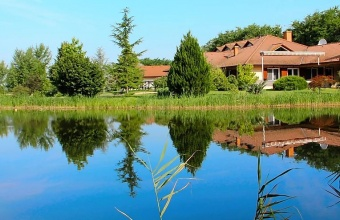 In a 4-hectare landscaped garden 35 km from Budapest, luxury family house and fish lake for sale
