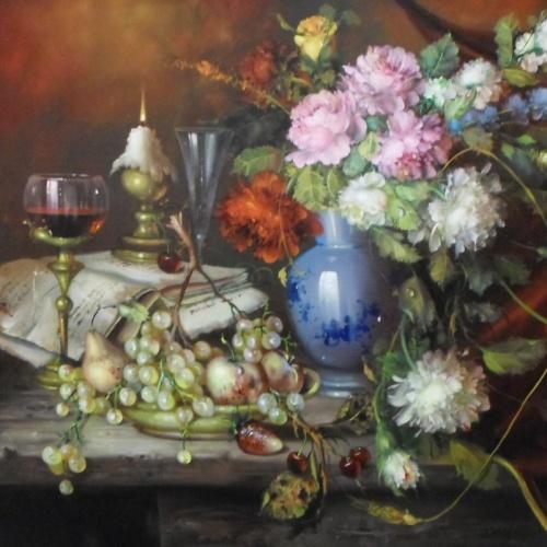 Fürst József - Rózsák gyümölcsök az asztalon